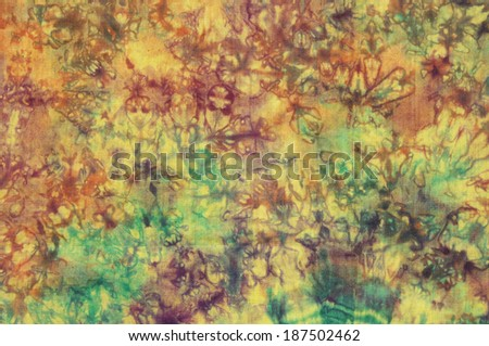 Abstract pattern on colorful cotton batik  - stock photo