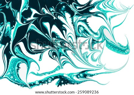Abstract patterns , splashes of green paint on a white background. The isolate. - stock photo