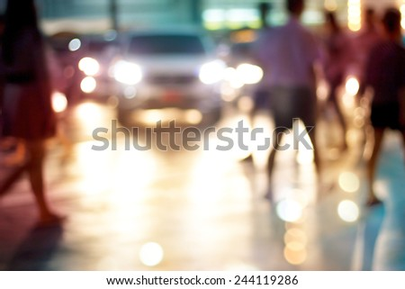 abstract people walk street night in the city, pastel and blur concept - stock photo