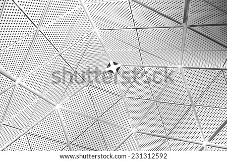 Abstract perforated white ceiling background - stock photo