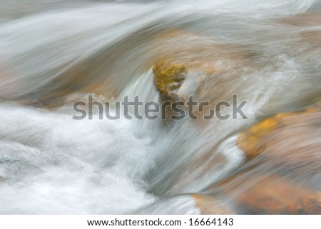 Abstract perspective of a swiftly moving stream. - stock photo