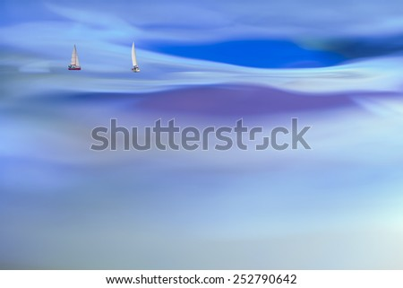 abstract photo of yacht against water surface in close up (double exposure) - stock photo