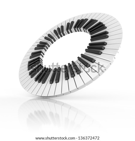 abstract piano 3d illustration - stock photo