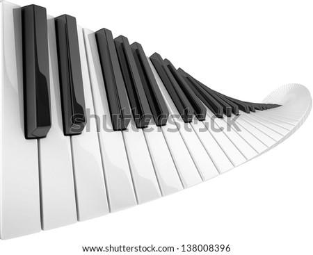 abstract piano keyboard wave - stock photo
