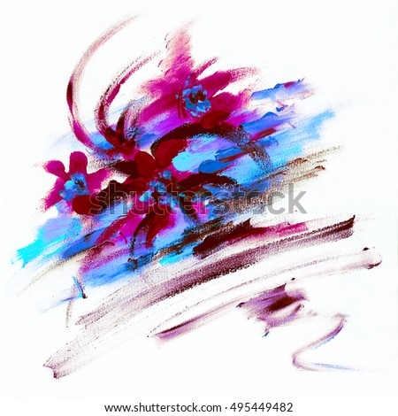 Abstract picture painted colors. Abstract bouquet of flowers in the style of impressionism. Children's drawing. Modern Art