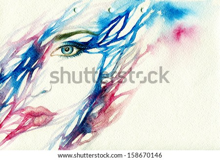 Abstract picture .woman face  . watercolor illustration - stock photo