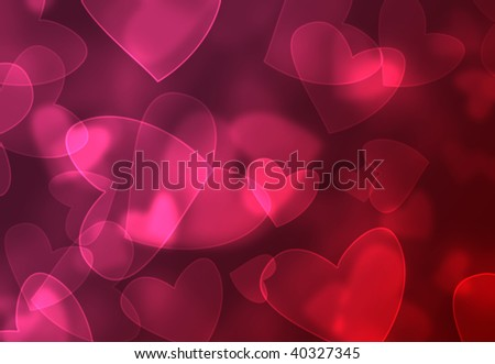 Abstract pink and red heart bokeh background - stock photo