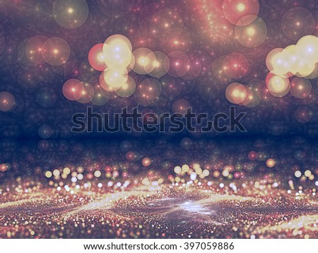 Abstract pink backgound - computer-generated image. Blurred image of dust or crumbs, and with the prospect of circular bokeh. Trendy fractal art for posters, banners, backdrops - stock photo