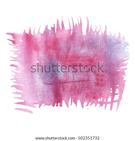 abstract pink blue watercolor splash. Watercolor drop isolated blot for your design