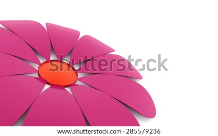 Abstract pink flower rendered isolated on white background