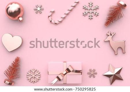 Abstract Pink Metallic Glossy Rose Gold Ribbon Gift Box Snow Tree Heart Christmas Ball Candy