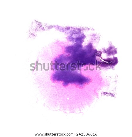 abstract Pink, violet drawing stroke ink watercolor brush water color splash paint watercolour background - stock photo
