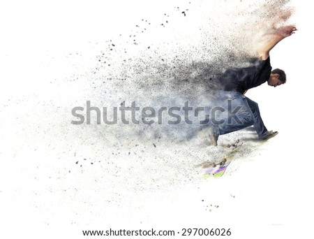 abstract pixelated design of a Boy practicing  and jumping skate in a park - stock photo