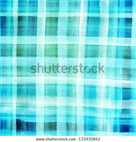 Abstract plaid watercolor. Hand painted blue background - stock photo