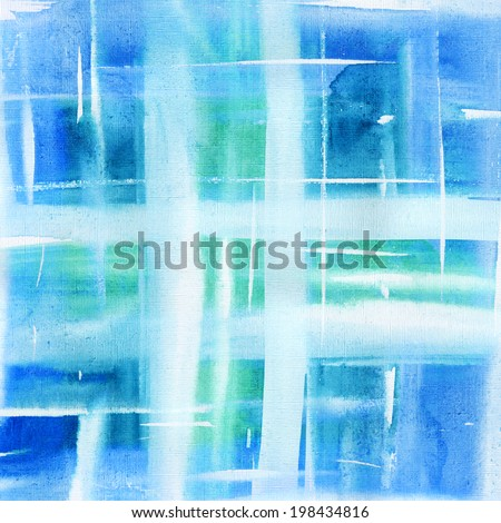 Abstract plaid watercolor. Hand painted blue background. Aquarelle texture. - stock photo