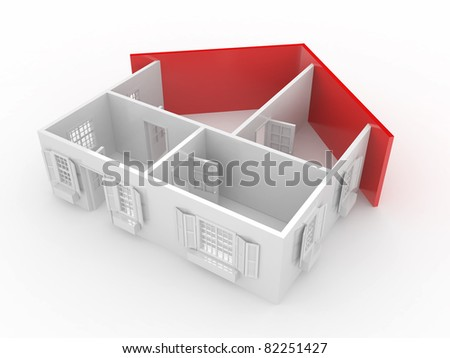 Abstract plan of home, on white isolated background. 3d - stock photo