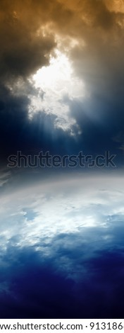 Abstract planet in space, bright light from above - stock photo