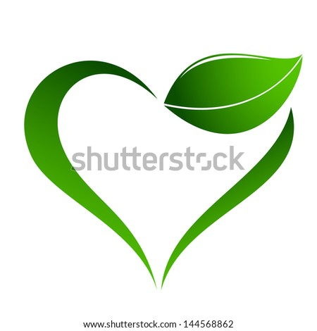 Abstract plant icon with heart element - stock photo