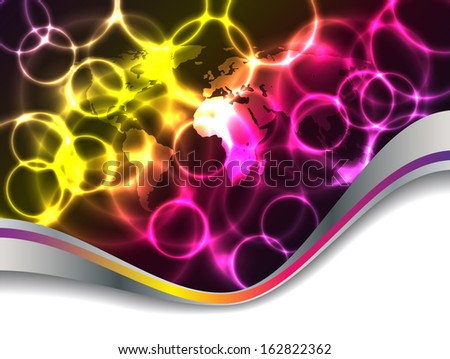 Abstract plasma background design with world map - stock photo