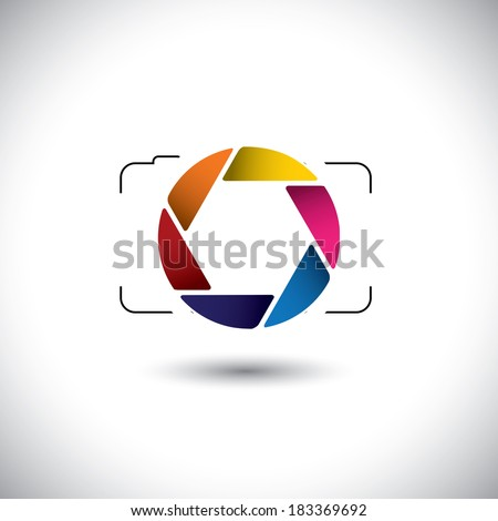 abstract point & shoot digital camera with colorful shutter icon. This graphic is a simple representation of stylish lens or aperture of a digital camera for taking photos & videos - stock photo