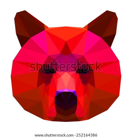 Abstract polygonal geometric triangle bright red colored bear isolated on white background for use in design. Raster copy - stock photo
