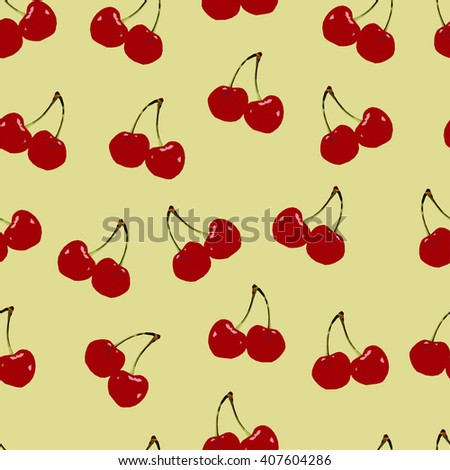 Abstract polygonal seamless pattern with red cherry, image with berry, summer illustration perfect for cover and interior design, geometric image, low fruit on the yellow background