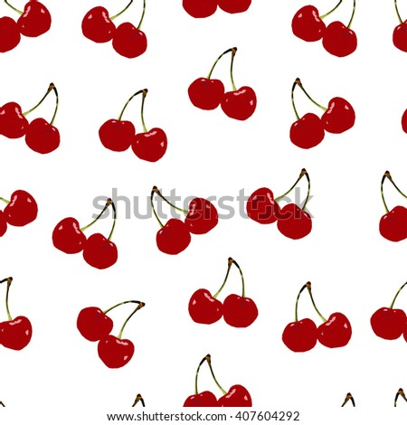 Abstract polygonal seamless pattern with red cherry, image with berry, summer illustration perfect for cover and interior design, geometric image, low fruit on the white background
