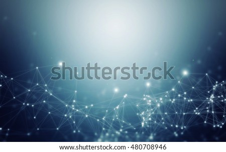 Abstract Polygonal Space Blue Background with Connecting Dots and Lines | Network - Data Visualization Illustration