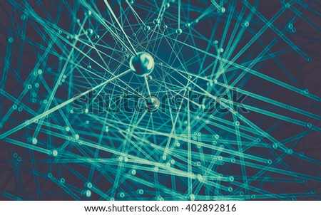 Abstract polygonal space low poly dark background with connecting dots and lines. Connection structure, 3D rendering