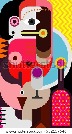 Abstract portrait of a woman with bottle of wine - graphic art illustration.