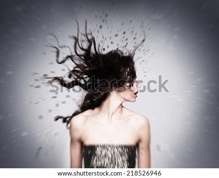Abstract portrait of young and beautiful woman