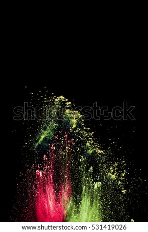 abstract powder splatted background,Freeze motion of color powder exploding/throwing color powder, multicolored glitter texture on black background.