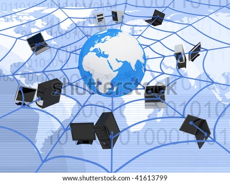 abstract presentation of the internet web - stock photo