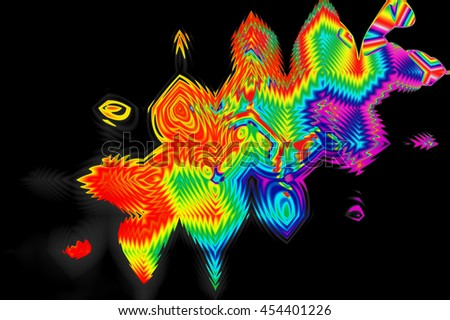 Abstract Psychedelic Colorful. Fractal art background for creative design. Decoration for wallpaper desktop, poster, cover booklet. Abstract texture. Print for clothes, t-shirt.