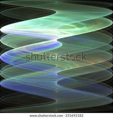 Abstract psychedelic waves on black background. Computer-generated fractal in emerald green, blue and orange colors. - stock photo