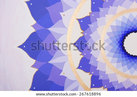 abstract purple painted picture mandala of Sahasrara chakra - stock photo