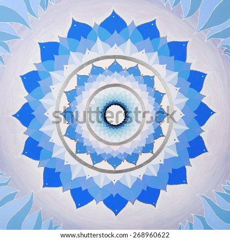 abstract purple painted picture with circle pattern, mandala of Vishuddha chakra - stock photo