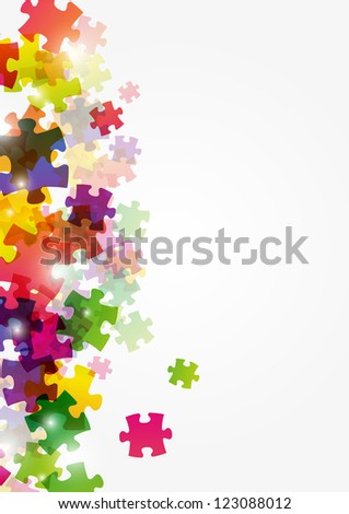 Abstract puzzle colorful background - stock photo