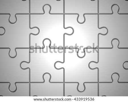 Abstract puzzle pieces. Puzzle background. 3D rendered illustration - stock photo