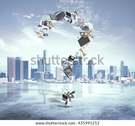 Abstract question mark made of office tools and items on city background - stock photo