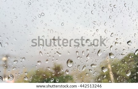 Abstract rain drop on glass, rainy season and vintage color