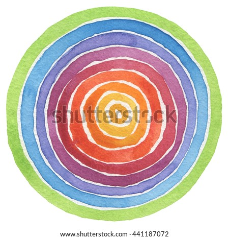 Abstract rainbow acrylic and watercolor circle painted background. Texture paper. - stock photo