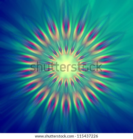 abstract rainbow colorful rays lights in circles over blue background
