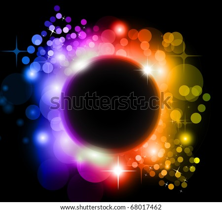 Abstract Rainbow Planet Background for Flyers - stock photo