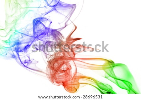 abstract rainbow smoke background isolated on white background