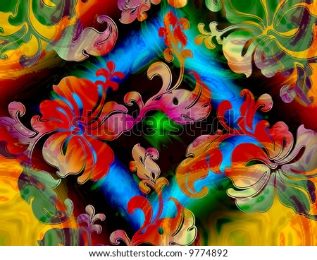 abstract rainbow tye-dye tropical floral with diamond frame pattern - stock photo