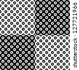 Abstract raster seamless black and white pattern background - stock photo