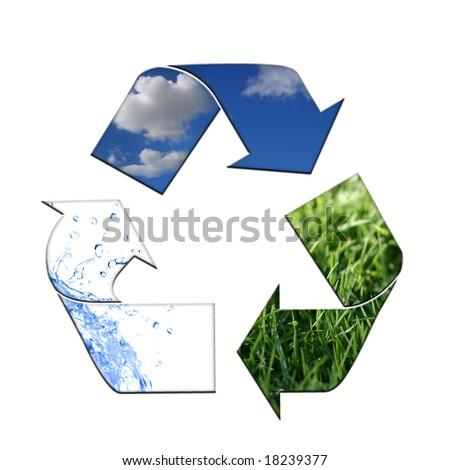 Abstract Recycling Symbol Representing Air, Land and Sea - stock photo