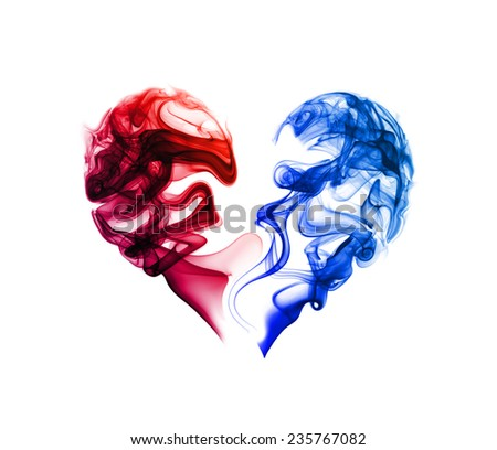 Abstract red and blue heart of the smoke on a white background. - stock photo