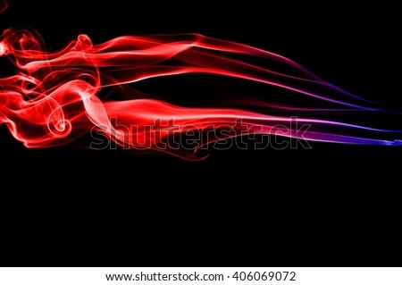Abstract red and blue smoke on black background - stock photo